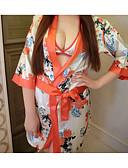 hesapli Sabahlıklar-Sexy Kimono Yatak kıyafeti - Fiyonklar / Dantelli / Desen, Çiçekli / Zıt Renkli Kadın's