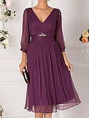 hesapli Maksi Elbiseler-Kadın's Zarif A Şekilli Elbise - Solid Düşük Omuz Derin V Diz-boyu