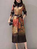 זול שמלות מודפסות-בגדי ריקוד נשים יומי סגנון סיני אביב ארוך בלשית, צמחים עומד שרוול ארוך כותנה טלאים אודם / חאקי