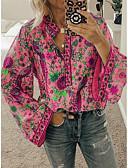 billige T-skjorter til damer-Bluse Dame - Blomstret / Fargeblokk, Trykt mønster Grunnleggende / Gatemote Oransje