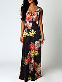 hesapli Print Dresses-Kadın's Boho Çan Elbise - Çiçekli, Kırk Yama Desen Maksi