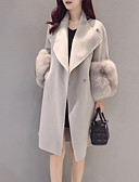 cheap Women's Fur & Faux Fur Coats-Women's Daily Fall & Winter Long Coat, Solid Colored Rolled collar Long Sleeve Polyester Gray