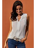 hesapli Gömlek-Kadın's Kısa Paltolar Nakış, Solid Temel Beyaz
