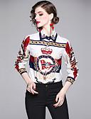 abordables Chemises Femme-Chemise Femme, Lettre Imprimé Elégant Blanche
