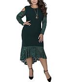 זול שמלות במידות גדולות-א-סימטרי אחיד - שמלה נדן בסיסי בגדי ריקוד נשים
