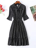hesapli Mini Elbiseler-Kadın's Vintage Sokak Şıklığı Şifon Elbise - Yuvarlak Noktalı, Bağcık Midi Siyah & Kırmızı