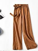 hesapli Kadın Pantolonl-Kadın's Salaş Geniş Bacak Pantolon - Solid Bağcık Keten Siyah Beyaz YAKUT M L XL