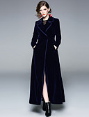 cheap Women's Coats & Trench Coats-Women's Daily Vintage / Sophisticated Fall & Winter Long Coat, Solid Colored Notch Lapel Long Sleeve Polyester Blue