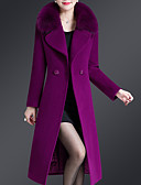 cheap Women's Coats & Trench Coats-Women's Daily Plus Size Long Coat, Solid Colored Notch Lapel Long Sleeve Polyester Navy Blue / Purple / Wine
