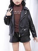 お買い得  女児ジャケット&コート-子供 女の子 活発的 ストリートファッション ソリッド レギュラー ジャケット&コート ブラック