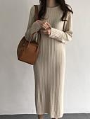 abordables Pulls & Gilets Femme-Femme Couleur Pleine Manches Longues Pullover, Col Arrondi Automne / Hiver Bleu / Marron / Kaki Taille unique