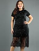 hesapli Günlük Elbiseler-Kadın's A Şekilli Elbise - Yuvarlak Noktalı Midi