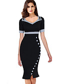 hesapli Print Dresses-Kadın's sofistike Zarif Bandaj Kılıf Trompet / Balık Elbise - Solid Yuvarlak Noktalı, Fiyonklar Fırfırlı Büzgülü Diz-boyu Siyah ve Beyaz