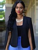 billige Blazere til damer-Dame Blazer, Ensfarget V-hals Polyester Hvit / Svart