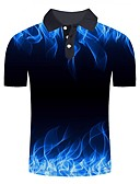 cheap Men's Clothing-Men's Daily Going out Basic / Street chic Polo - Color Block / 3D / Graphic Print Blue