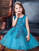 hesapli Elbiseler-Çocuklar Genç Kız Actif Tatlı Solid Çiçekli Nakış Kolsuz Diz-boyu Elbise Doğal Pembe