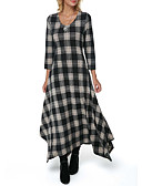 hesapli Maksi Elbiseler-Kadın's Boho Çan Elbise - Kareli, Kırk Yama Asimetrik