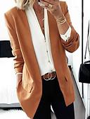 billige Blazere til damer-Dame Blazer, Ensfarget Rundet jakkeslag Polyester Svart / Vin / Rosa