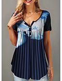 hesapli Tişört-Kadın's Tişört Geometrik Koyu Mavi