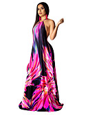 hesapli Vintage Kraliçesi-Kadın's Çan Elbise - Zıt Renkli Maksi