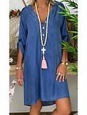 hesapli Kadın Elbiseleri-Kadın's Temel Kot Kumaşı Elbise - Solid Diz üstü
