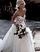 povoljno Vjenčanice-A-kroj Srcoliki izrez Dugi šlep Čipka / Til Izrađene su mjere za vjenčanja s Aplikacije po LAN TING Express