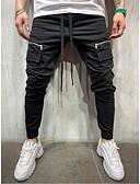 זול טרנינגים וקפוצ'ונים לגברים-בגדי ריקוד גברים בסיסי / סגנון רחוב צ'ינו מכנסיים - אחיד / פסים שחור אפור בהיר אודם US32 / UK32 / EU40 US34 / UK34 / EU42 US36 / UK36 / EU44