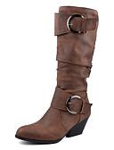 billige Blazere til damer-Dame Støvler Tykk hæl Rund Tå Spenne PU Støvletter Vintage Høst vinter Svart / Brun / Gul