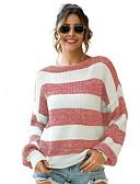 ieftine Bluză-Pentru femei Dungi Manșon Lung Plover, Rotund Negru / Galben / Roșu-aprins S / M / L