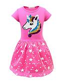 povoljno Haljine za djevojčice-Djeca Djevojčice Aktivan Unicorn Geometrijski oblici Print Kratkih rukava Midi Haljina Blushing Pink