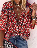 billige Kjoler med tryk-V-hals Dame - Geometrisk Skjorte Rød