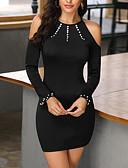 abordables Vestidos de Mujer-Mujer Corte Bodycon Vestido Un Color Sobre la rodilla