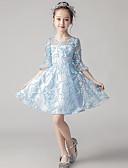 זול שמלות לילדות פרחים-גזרת A באורך  הברך שמלה לנערת הפרחים  - תחרה שרוול 4\3 עם תכשיטים עם תחרה על ידי LAN TING Express
