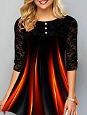 billige Bluser-Store størrelser T-skjorte Dame - Fargeblokk Svart