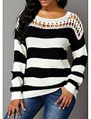 billige Romantiske blonder-Dame Stripet Langermet Pullover, Rund hals Svart M / L / XL