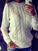 お買い得  女児 セーター&カーディガン-女性用 日常 ストリートファッション 撚糸 ソリッド 長袖 レギュラー プルオーバー, ラウンドネック ホワイト / ダックグレー / グレー M / L / XL