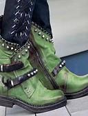 hesapli Kadın Kazakları-Kadın's Çizmeler Blok Topuk Yuvarlak Uçlu PU Yarı-Diz Boyu Çizmeler Sonbahar Kış Siyah / Mor / Yeşil
