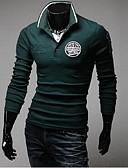 זול חולצות פולו לגברים-אחיד / אותיות בסיסי / אלגנטית Polo - בגדי ריקוד גברים אפור בהיר