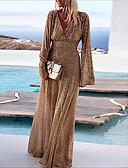 hesapli Büyük Beden Elbiseleri-Kadın's Parti / Gece A Şekilli Çan Elbise Payetler Derin V Maksi