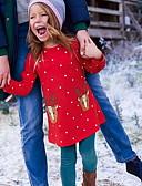 お買い得  赤ちゃん ドレス-子供 女の子 かわいいスタイル 動物 長袖 膝上 ドレス ルビーレッド