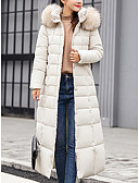 povoljno Women's Down Coats-Žene Jednobojni Dug Padded, POLY Crn / Obala / Vojska Green M / L / XL