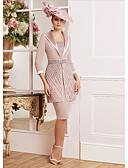 hesapli Mini Elbiseler-Sütun / İki Parça Kare Yaka Diz Boyu Dantelalar / Jarse Aplik / Kurdeleler ile Gelin Annesi Elbisesi tarafından LAN TING Express / Şal dahildir