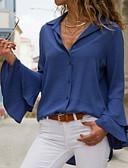 abordables Chemises Femme-Chemise Femme, Couleur Pleine Noir