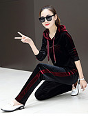 cheap Men's Blazers & Suits-Women's Side-Stripe Patchwork Tracksuit Fashion Velvet Running Fitness Clothing Suit Long Sleeve Activewear Thermal / Warm Breathable Soft Stretchy Regular Fit