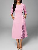 Недорогие Платья-Жен. А-силуэт Платье - Однотонный Средней длины