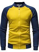 hesapli Erkek Ceketleri ve Kabanları-Erkek Günlük Sonbahar Kış Normal Ceketler, Zıt Renkli Dik Yaka Uzun Kollu Polyester Siyah / Beyaz / Turuncu