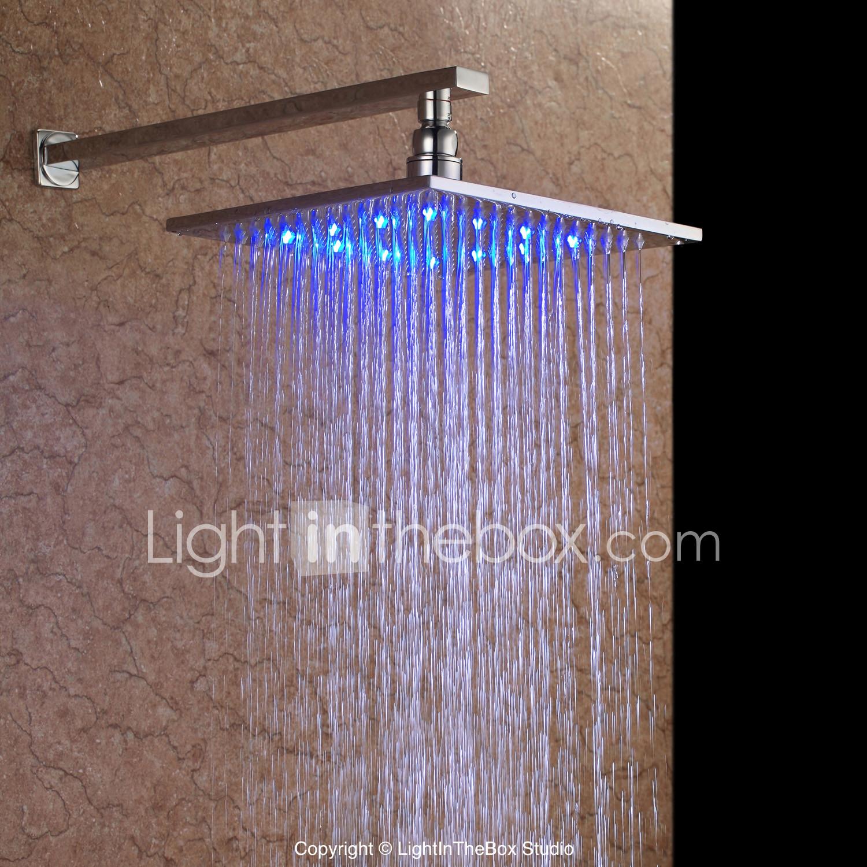 rain shower nickel brushed led shower head