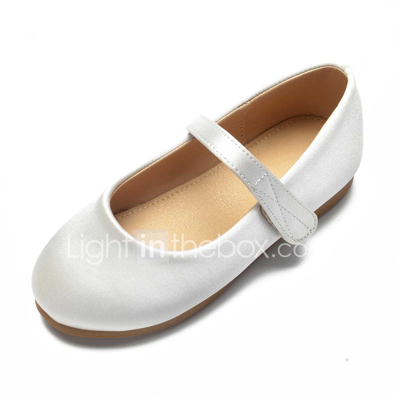 82790179df3d ADOR® Girls  Shoes Satin Spring   Summer Ballerina   Flower Girl Shoes Flats  Rhinestone   Bowknot   Buckle for Kids White   Ivory   Wedding  06805152