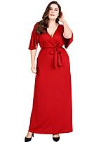 olcso Női ruhák-női napi maxi swing ruha v nyak pamut piros xl xxl xxxl 4c184fed71
