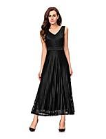 olcso Maxi ruhák-Női Pamut A-vonalú Ruha Egyszínű Maxi V-alakú Magas 867fa177af